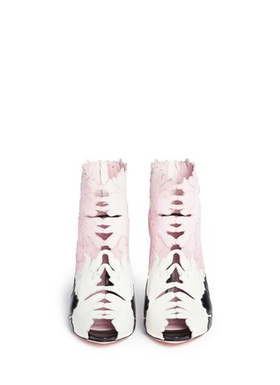 Figure View - Click To Enlarge - Alexander McQueen - Lotus flower appliqué leather peep toe boots