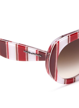 Detail View - Click To Enlarge - Dolce & Gabbana - Striped round-frame sunglasses