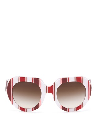 Main View - Click To Enlarge - Dolce & Gabbana - Striped round-frame sunglasses