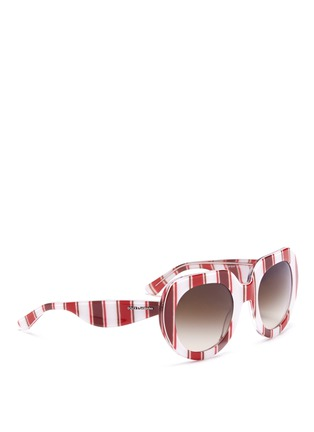 Figure View - Click To Enlarge - Dolce & Gabbana - Striped round-frame sunglasses