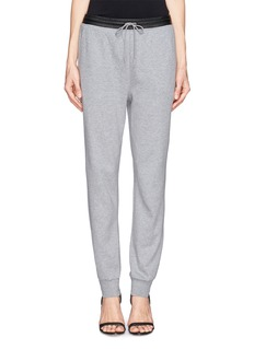T BY ALEXANDER WANG Cotton nylon leather waistband sweatpants