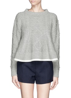 SACAI LUCKFlare cable knit pom-pom sweater