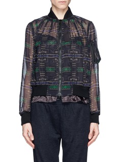 SACAI LUCK Sheer tribal print bomber jacket