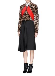 GIVENCHYColourblock panel marmot fur leopard print jacket