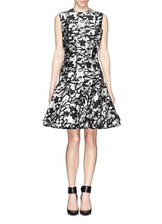 LANVIN Abstract jacquard pleat flare dress