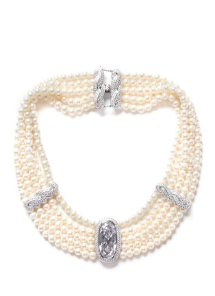 Main View - Click To Enlarge - CZ by Kenneth Jay Lane - Cubic zirconia faux pearl choker necklace