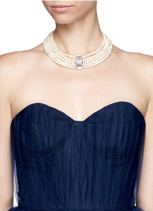 Figure View - Click To Enlarge - CZ by Kenneth Jay Lane - Cubic zirconia faux pearl choker necklace