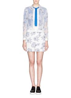 HELEN LEESilk-wool trim floral mesh jacket