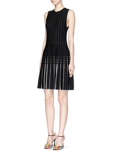 ALICE + OLIVIA 'Dena' pointelle rib knit flounce dress