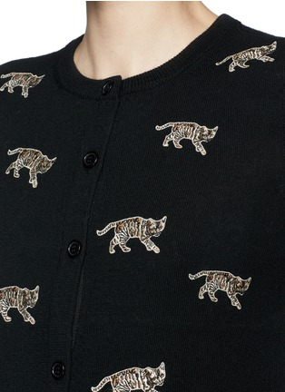 Detail View - Click To Enlarge - alice + olivia - Bengal cat appliqué wool cardigan