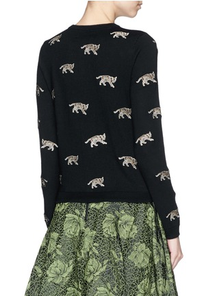 Back View - Click To Enlarge - alice + olivia - Bengal cat appliqué wool cardigan