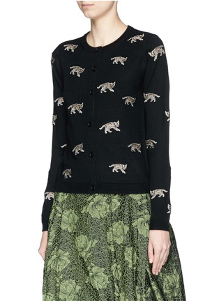 Front View - Click To Enlarge - alice + olivia - Bengal cat appliqué wool cardigan