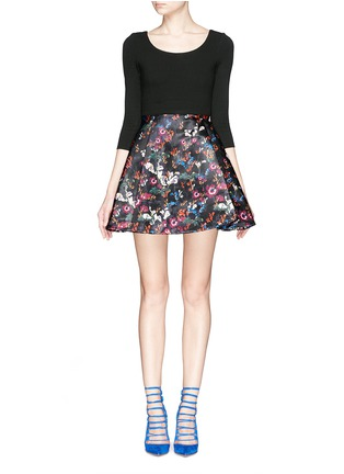 Main View - Click To Enlarge - alice + olivia - 'Amie' fall garden print combo flare dress