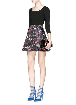 Figure View - Click To Enlarge - alice + olivia - 'Amie' fall garden print combo flare dress