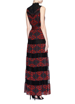 Back View - Click To Enlarge - alice + olivia - 'Briella' lotus flower print lace pleat dress