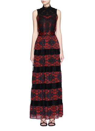 Main View - Click To Enlarge - alice + olivia - 'Briella' lotus flower print lace pleat dress