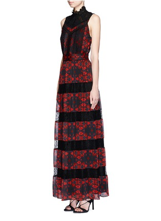 Figure View - Click To Enlarge - alice + olivia - 'Briella' lotus flower print lace pleat dress