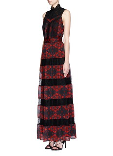 ALICE + OLIVIA 'Briella' lotus flower print lace pleat dress