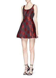 ALICE + OLIVIA'Hazeline' rose satin jacquard flare dress