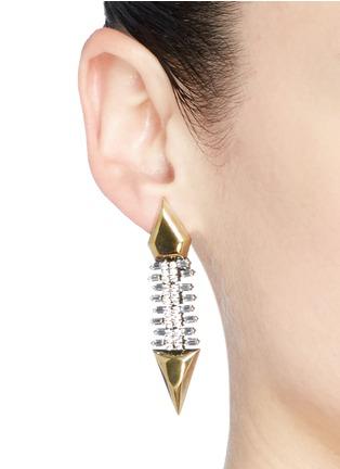 Figure View - Click To Enlarge - IOSSELLIANI - Zircon pavé brass arrow clip earrings