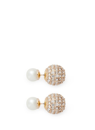 Main View - Click To Enlarge - Kenneth Jay Lane - Crystal pavé back pearl stud earrings