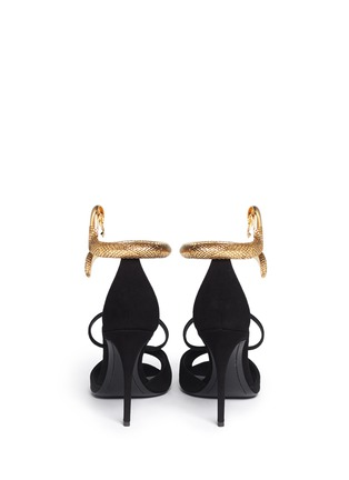 Back View - Click To Enlarge - Giuseppe Zanotti Design - Nirvana serpent anklet suede sandals