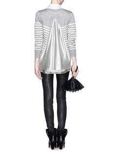 SACAI LUCKCupro underlay stripe wool cardigan