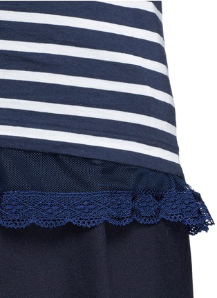 Detail View - Click To Enlarge - SACAI LUCK - Lace trim stripe tank top