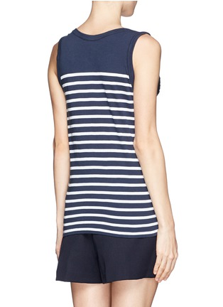 Back View - Click To Enlarge - SACAI LUCK - Lace trim stripe tank top