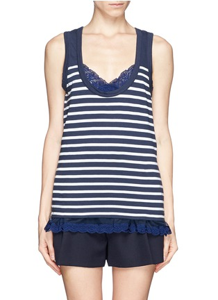 Main View - Click To Enlarge - SACAI LUCK - Lace trim stripe tank top