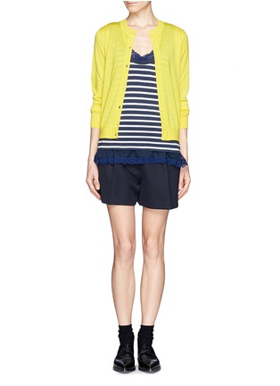 Figure View - Click To Enlarge - SACAI LUCK - Lace trim stripe tank top