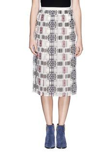 SACAI LUCKSheer tribal print skirt
