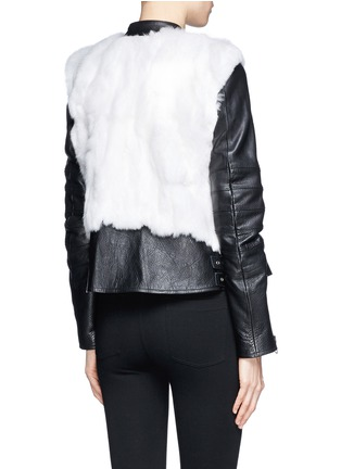 Back View - Click To Enlarge - SACAI LUCK - Rabbit fur leather biker jacket
