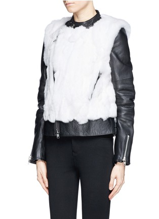 Front View - Click To Enlarge - SACAI LUCK - Rabbit fur leather biker jacket