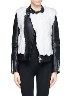 SACAI LUCKRabbit fur leather biker jacket