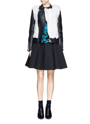 Figure View - Click To Enlarge - SACAI LUCK - Rabbit fur leather biker jacket