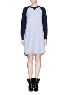 SACAI LUCKPinstripe poplin combo sweater dress