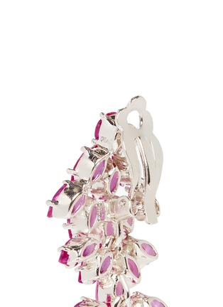 Detail View - Click To Enlarge - CZ by Kenneth Jay Lane - Cubic zirconia leaf drop marquise cut clip earrings