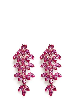 Main View - Click To Enlarge - CZ by Kenneth Jay Lane - Cubic zirconia leaf drop marquise cut clip earrings