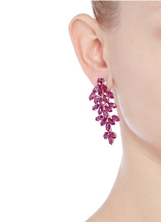 Figure View - Click To Enlarge - CZ by Kenneth Jay Lane - Cubic zirconia leaf drop marquise cut clip earrings