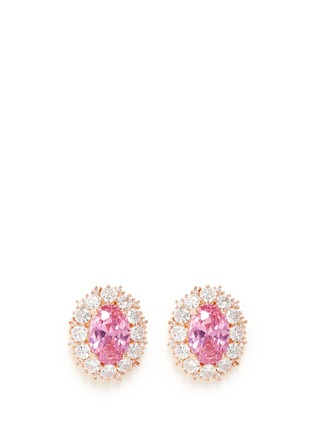 Main View - Click To Enlarge - CZ by Kenneth Jay Lane - Oval cubic zirconia pavé earrings