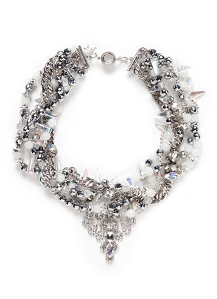 Main View - Click To Enlarge - AMANDA MOUNSER - Teardrop crystal pendant multi chain necklace