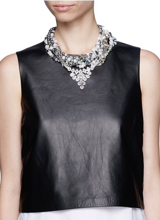 Figure View - Click To Enlarge - AMANDA MOUNSER - Teardrop crystal pendant multi chain necklace
