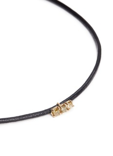 Xiao Wang'Stardust' diamond 14k gold bar charm leather necklace