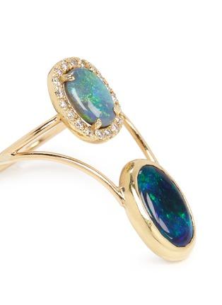 Detail View - Click To Enlarge - Xiao Wang - 'Galaxy' diamond opal 18k yellow gold ring