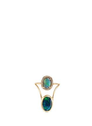 Main View - Click To Enlarge - Xiao Wang - 'Galaxy' diamond opal 18k yellow gold ring