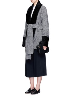 Hillier Bartley Embossed faux fur panel geelongora knit cardigan