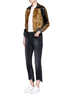 Hillier Bartley Leopard print faux fur leather bomber jacket