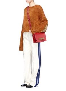Hillier BartleyLeopard print faux fur patch mohair blend sweater