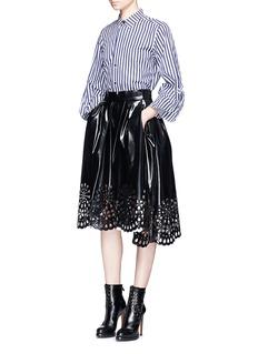 Marc JacobsFloral lasercut hem PU laminated skirt